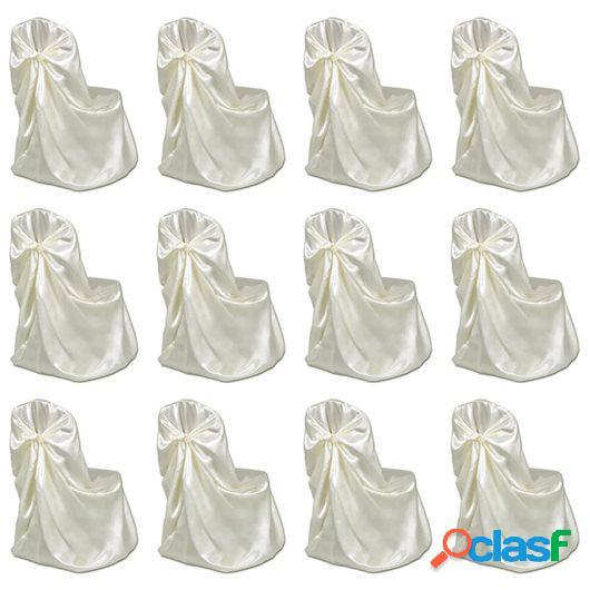 Funda de silla para banquete de boda 12 unidades crema