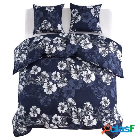 Funda nórdica 3 piezas floral 200x200/80x80cm azul marino