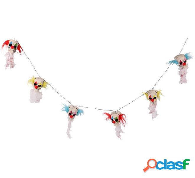 Guirnalda con 6 Cabezas de Payaso con luz de 180 cm