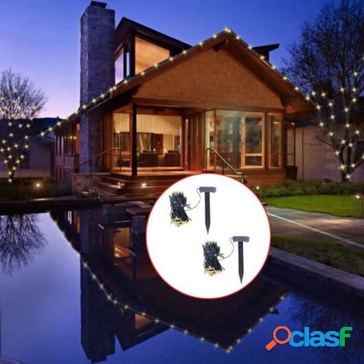 Guirnalda de luces solares LED 2 unidades blanco cálido
