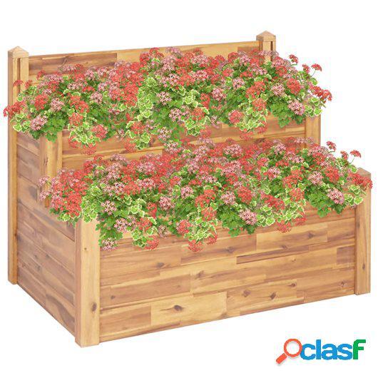 Jardinera de 2 niveles madera maciza de acacia 110x75x84 cm