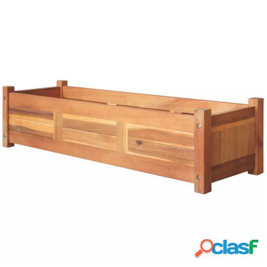 Jardinera de madera de acacia 100x30x25 cm