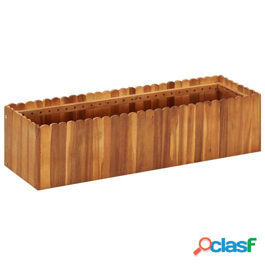 Jardinera de madera maciza de acacia 100x30x25 cm