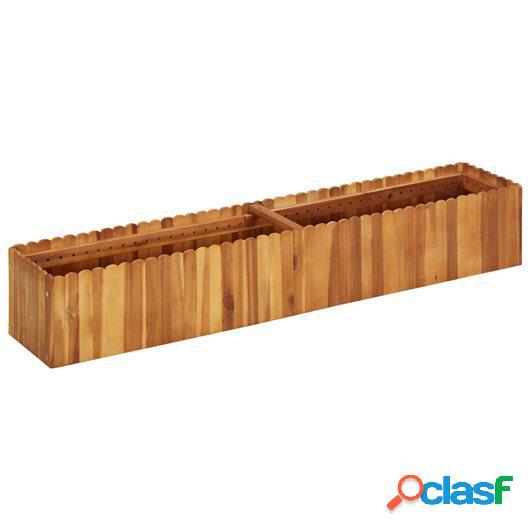 Jardinera de madera maciza de acacia 150x30x25 cm