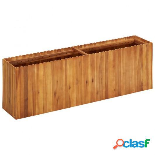 Jardinera de madera maciza de acacia 150x30x50 cm