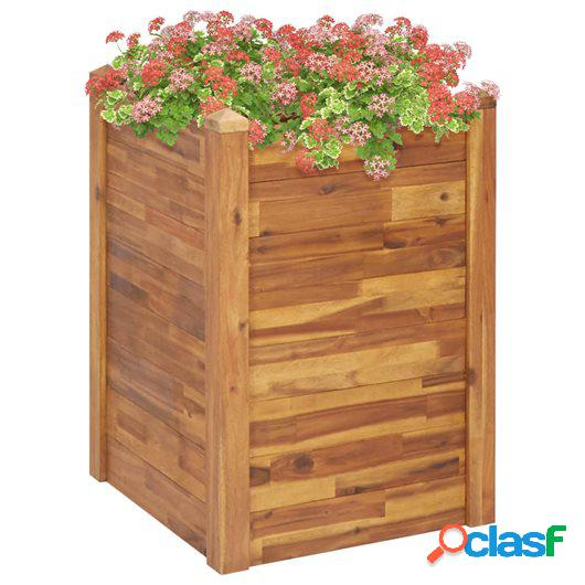 Jardinera de madera maciza de acacia 60x60x84 cm