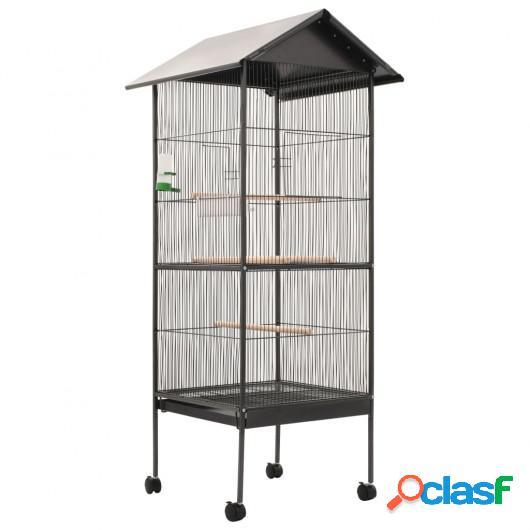 Jaula para pájaros con techo de acero gris 66x66x155 cm