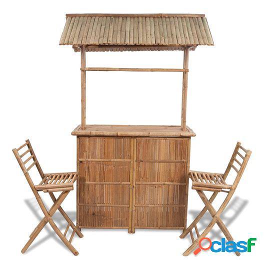 Juego de barra y sillas de bar de jardín 3 piezas de bambú