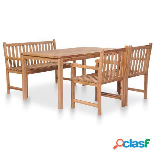 Juego de comedor de jardín 4 piezas de madera maciza de