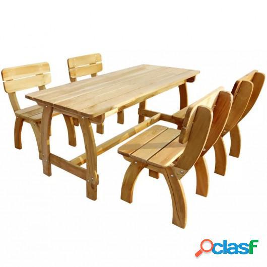 Juego de comedor de jardín 5 piezas madera de pino