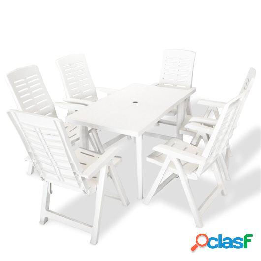 Juego de comedor de jardín 7 piezas plástico blanco