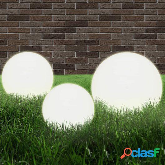 Juego de lámparas de bola LED 3 pzas esféricas 20/30/40 cm