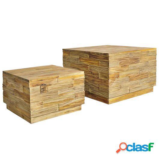 Juego de mesa de centro 2 piezas de madera de teca maciza