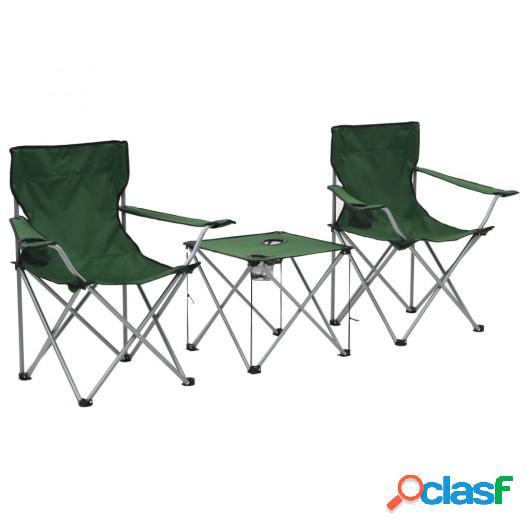 Juego de mesa y sillas de camping 3 piezas verde
