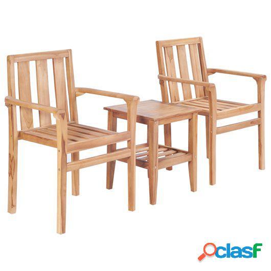 Juego de mesa y sillas de jardín 3 piezas madera de teca