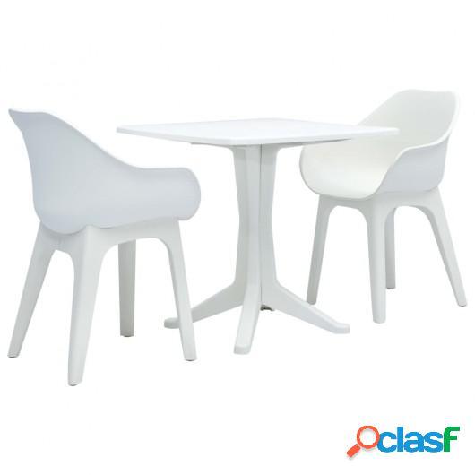 Juego de mesa y sillas de jardín 3 piezas plástico blanco