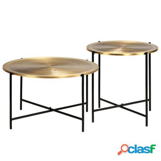Juego de mesas con cubierta de latón MDF 2 unidades