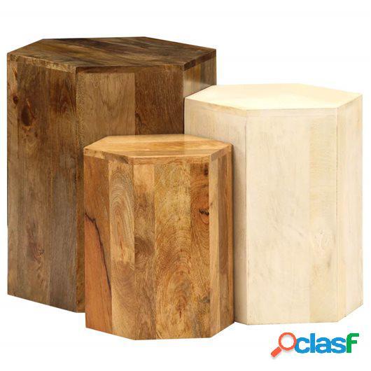 Juego de mesas de centro 3 piezas madera de mango maciza