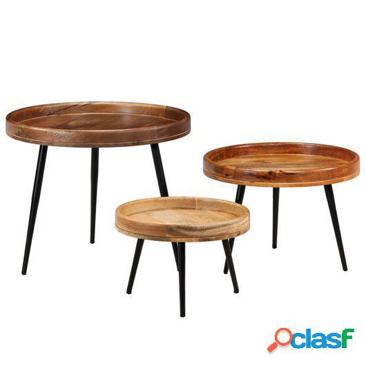 Juego de mesas de madera maciza de mango y acero 3 unidades
