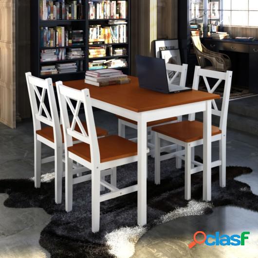 Juego de muebles de comedor 5 piezas marrón y blanco