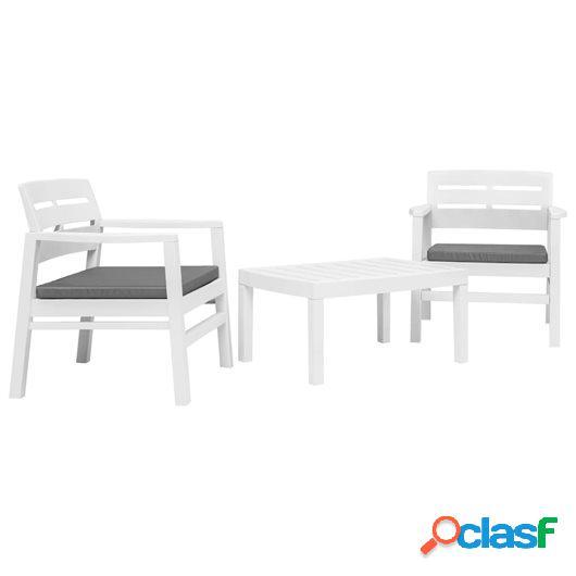 Juego de muebles de jardín 3 piezas plástico blanco