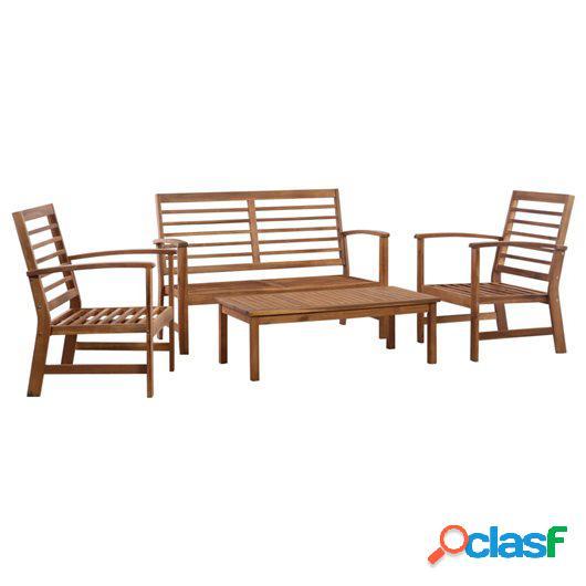 Juego de muebles de jardín 4 piezas madera maciza de acacia