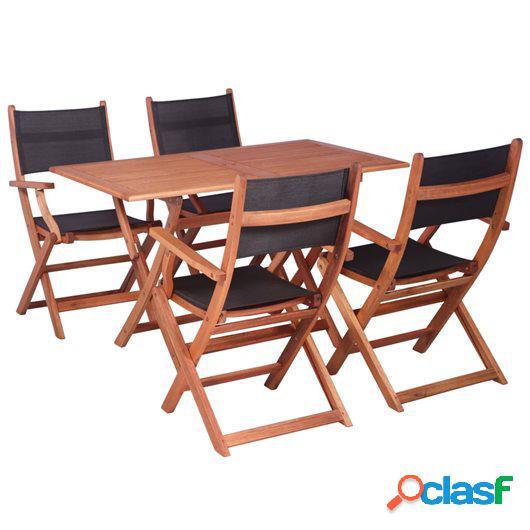Juego de muebles de jardín 5 pzas madera eucalipto y