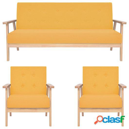 Juego de sofás de 3 piezas tela amarillo