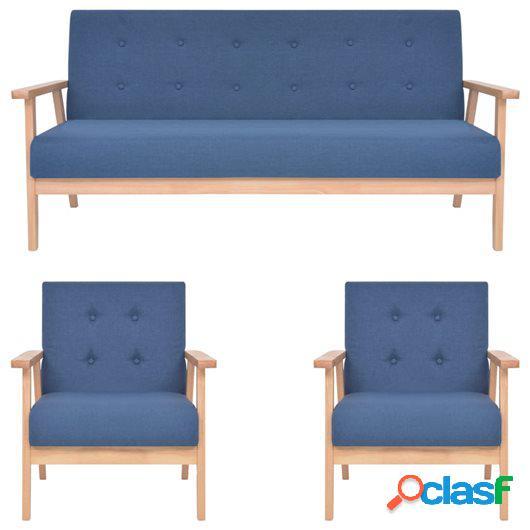Juego de sofás de 3 piezas tela azul