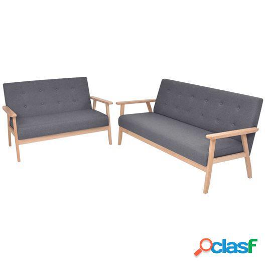 Juego de sofás de tela de 2 piezas color gris oscuro