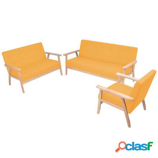 Juego de sofás de tela de 3 piezas color amarillo