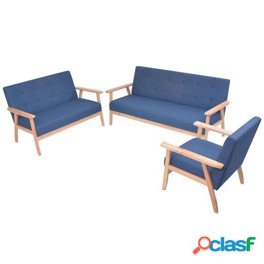 Juego de sofás de tela de 3 piezas color azul