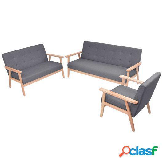 Juego de sofás de tela de 3 piezas color gris oscuro