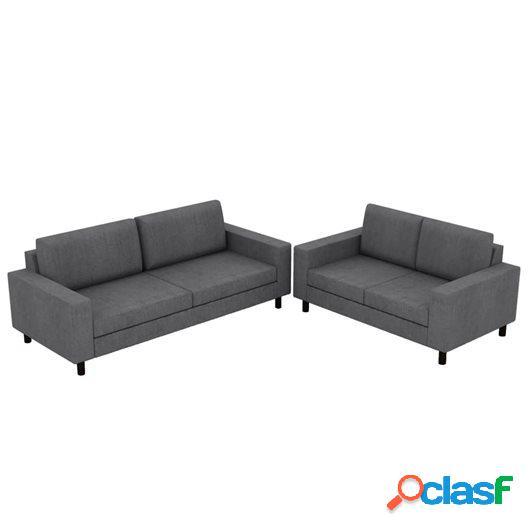 Juego de sofás para 5 personas 2 unidades tela gris oscuro