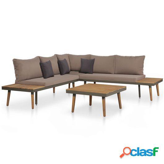 Juego muebles de jardín 4 piezas y cojines madera maciza