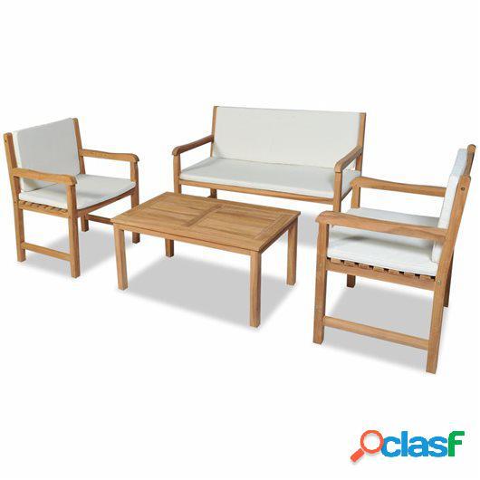 Juego muebles de jardín 4 piezas y cojines madera teca