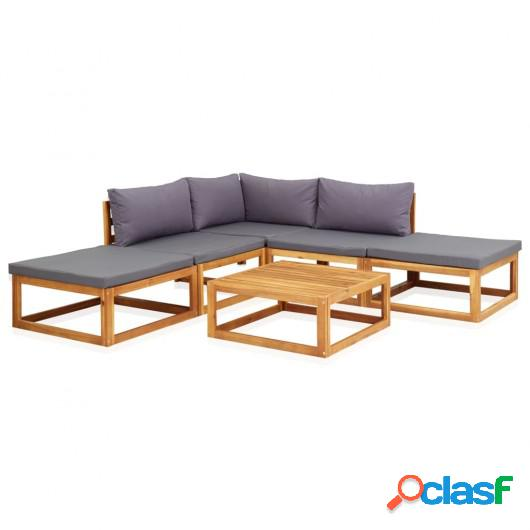 Juego muebles de jardín y cojines 6 piezas madera maciza