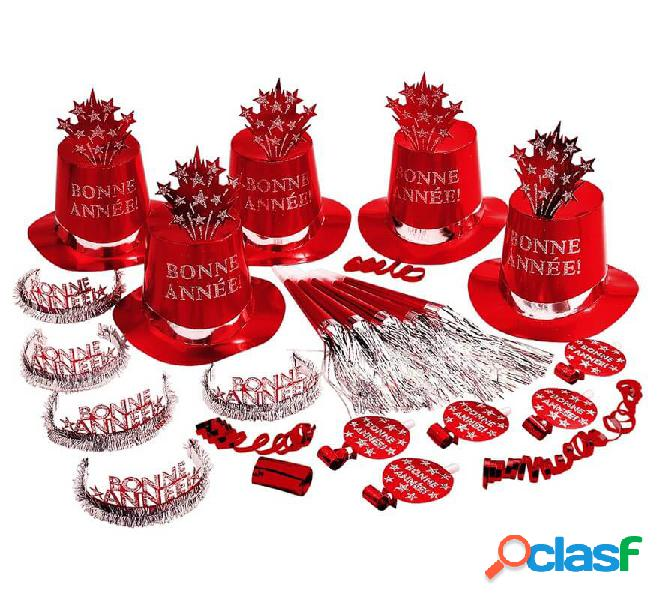 Kit Cotillón Bonne Année Rojo para 10 personas