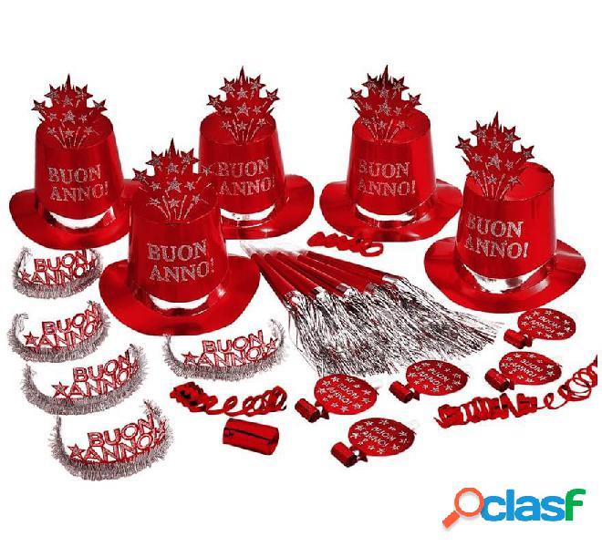 Kit Cotillón Buon Anno Rojo para 10 personas