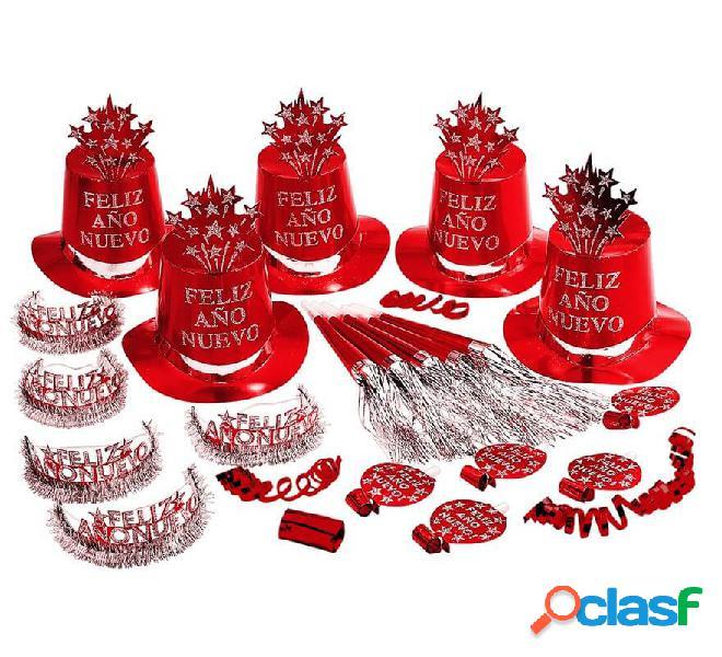 Kit Cotillón Feliz Año Nuevo Rojo para 10 personas