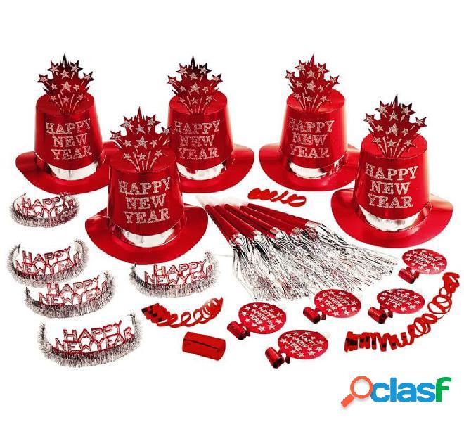 Kit Cotillón Happy New Year Rojo para 10 personas