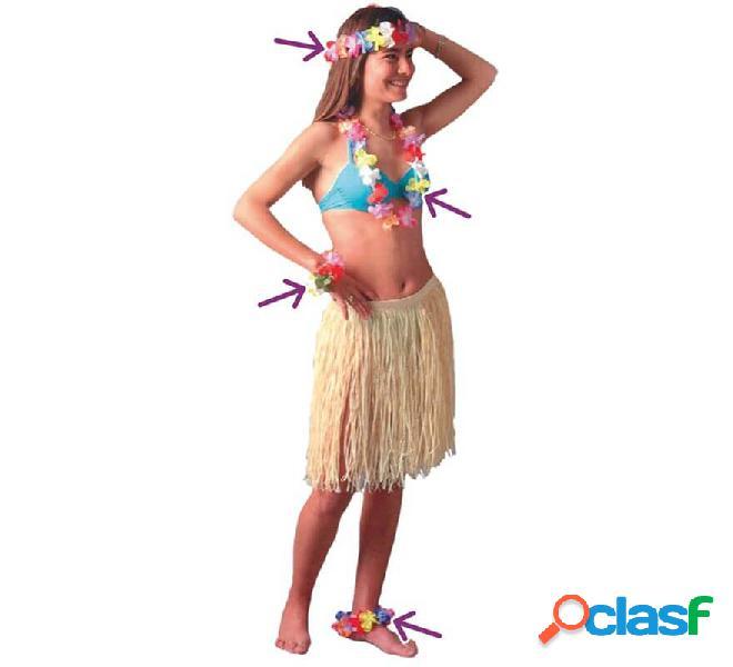 Kit Hawaiano: Pulsera, Tobillera, Collar y Corona de flores