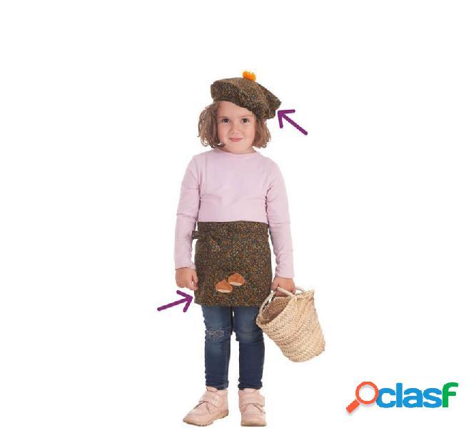 Kit de Castañera para bebé: Delantal y Gorro con Flores