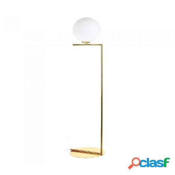 Lampara De Pie Oro Blanco Cristal Metal Y Moderno 40.00 X