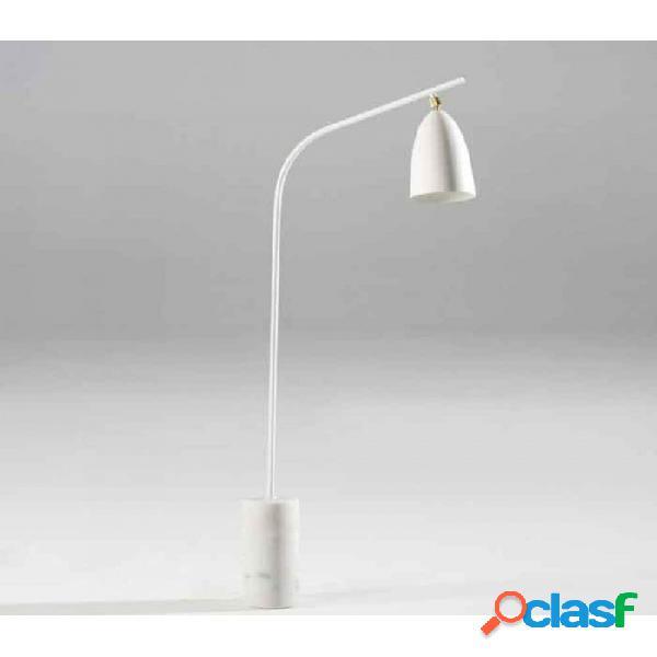 Lampara Pie Blanco Marmol Y Metal Moderno 62x15x150