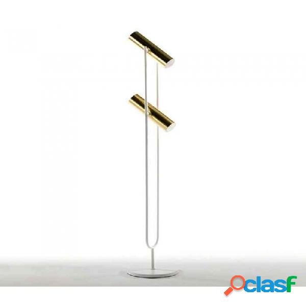 Lampara Pie Oro Blanco Metal Moderno 22x22x120