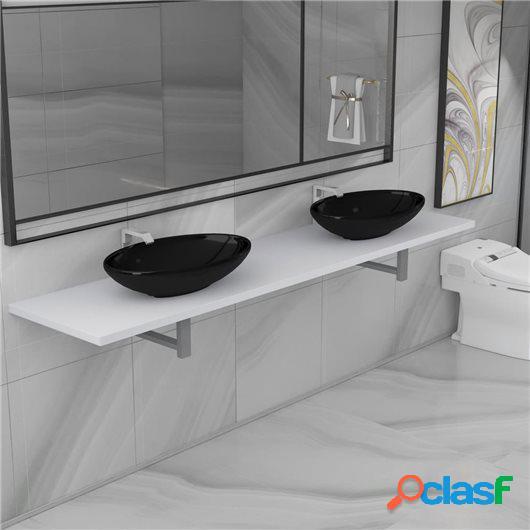 Lavabo de baño con estante de pared cerámica