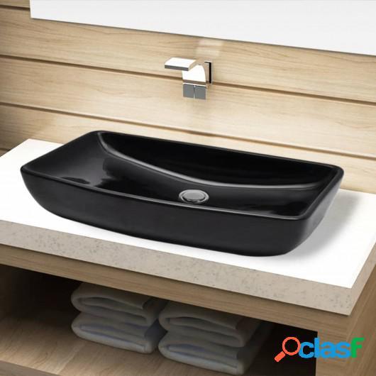 Lavabo de cerámica negro rectangular