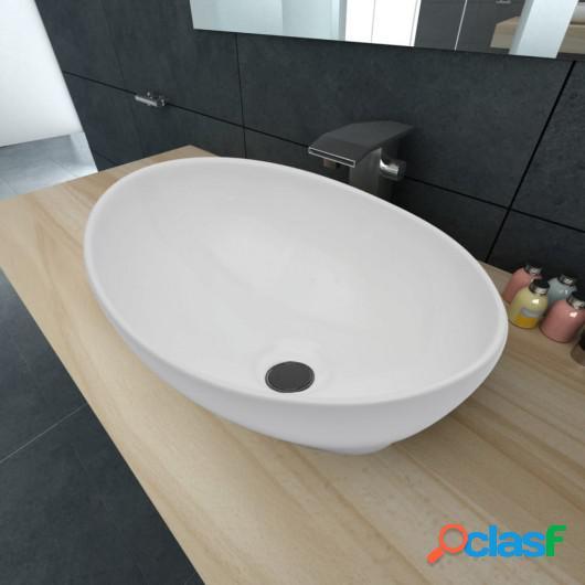Lavabo ovalado de cerámica blanco 40x33 cm