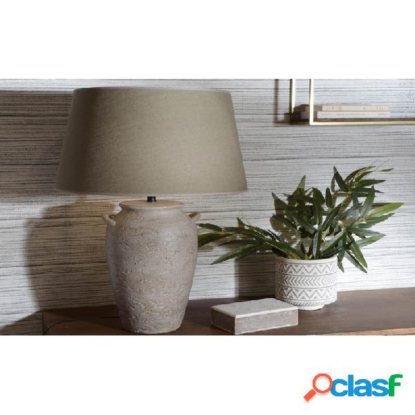 Lámpara De Mesa Beige Arcilla Y Lino Clasico 76 X 50 80